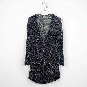 Eileen Fisher Black Marble Knit Button Cardigan